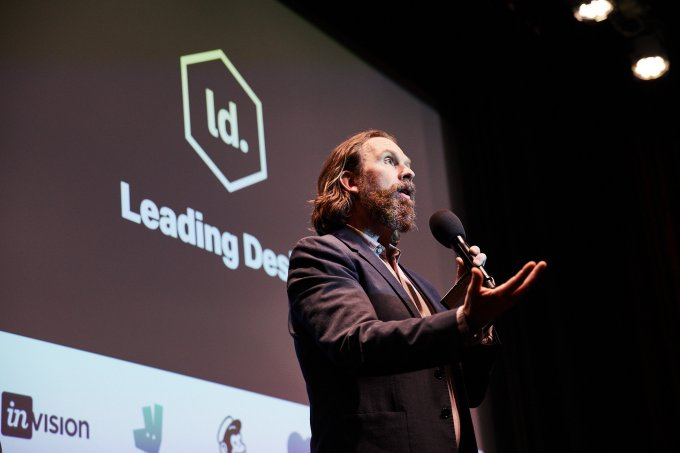 Andy Budd on stage at Leading Design