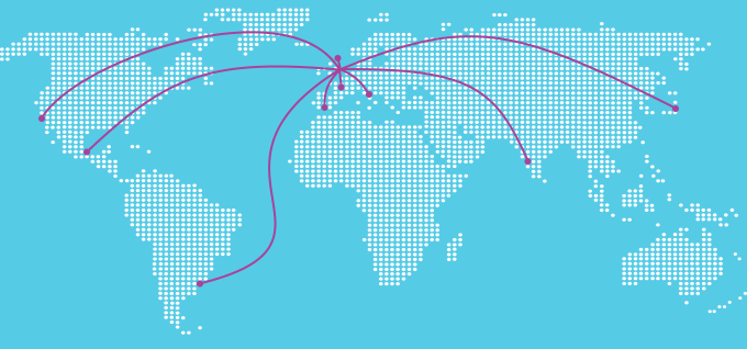 World map with lines of travel from the UK.