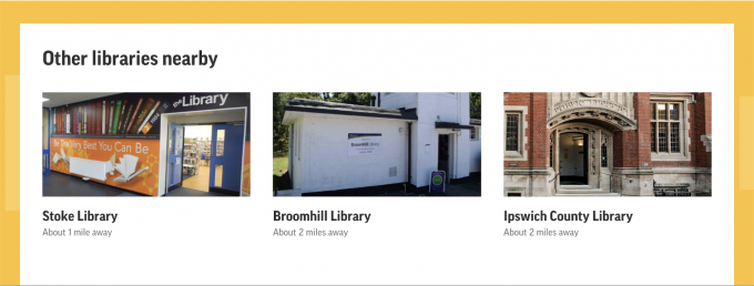 A screenshot showing nearby library locations.