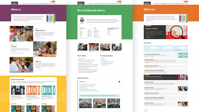 A selection of web pages with different colour schemes.
