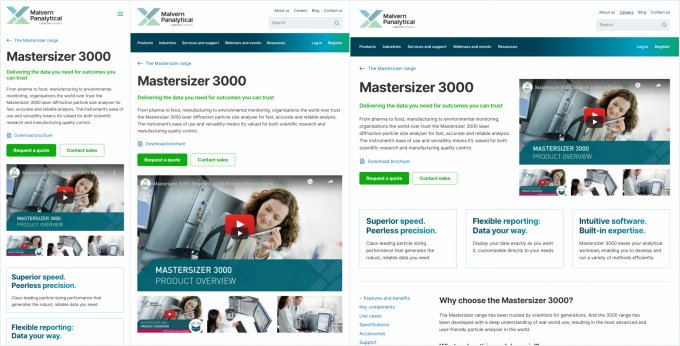 An image of a webpage in small medium and large sizes.