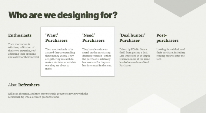 Series of user archetypes that were used to help steer the design solution