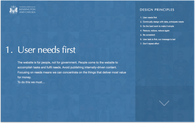 Homepage of a microsite that was developed detailing the design principles we had created