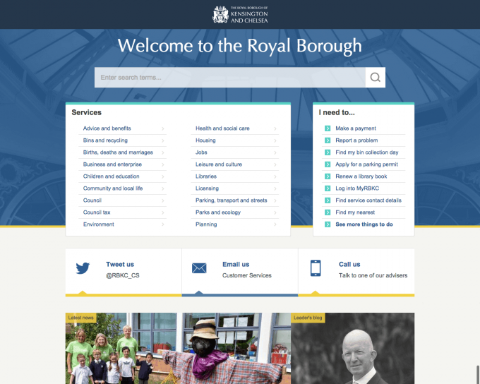Simplified homepage designed for RBKC promoting services above politics