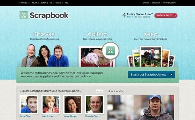 A screenshot of the Scrapbook homepage.