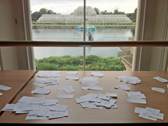 A table covered in cards.