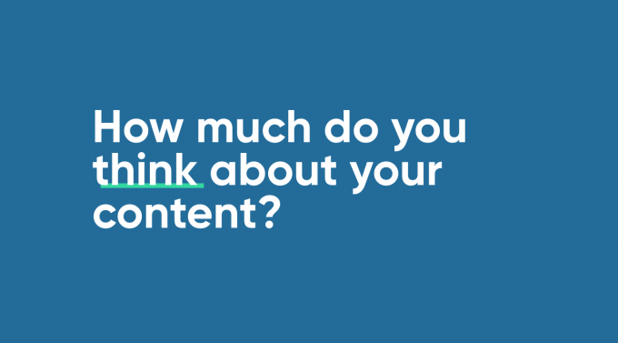 A screen asking - how much do you think about content?