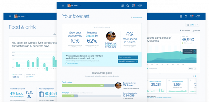 A group of screenshots showing the new and improved design of the Nordea dashboard