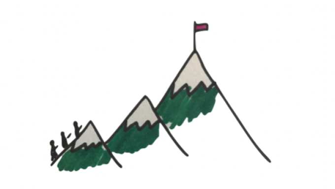 Rachel's sketch of a team climbing a mountain