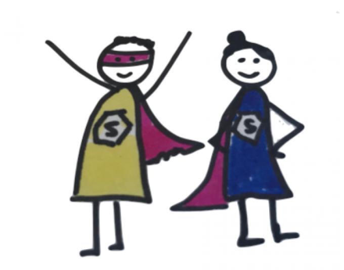 Rachel's sketch of two superheroes