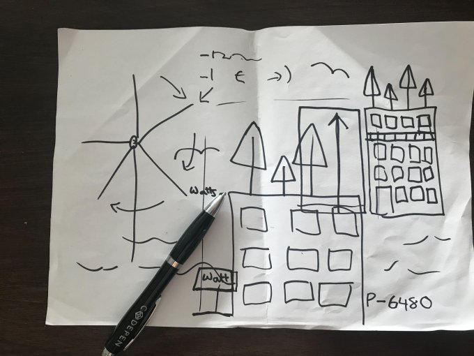 A rough sketch of the 68 middle street building with trees on roof and wind turbine in the background.