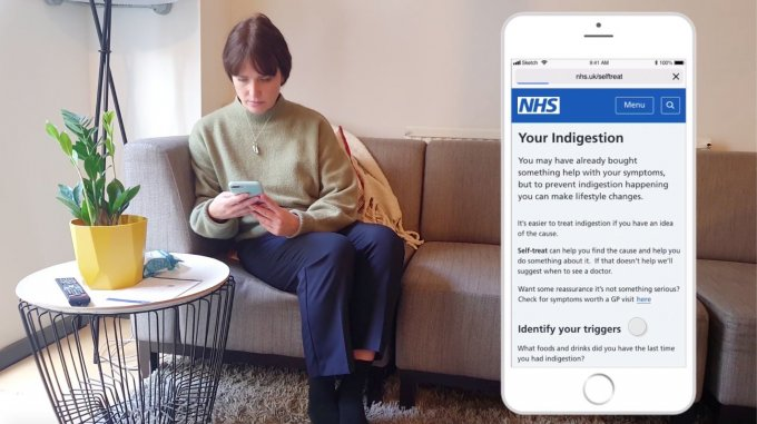A worried well patient sitting on the sofa looking at her phone. A screen showing the self treat interface