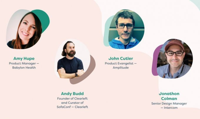 Speakers grid with Amy Hupe, Andy Budd, John Cutler, and Jonathon Colman
