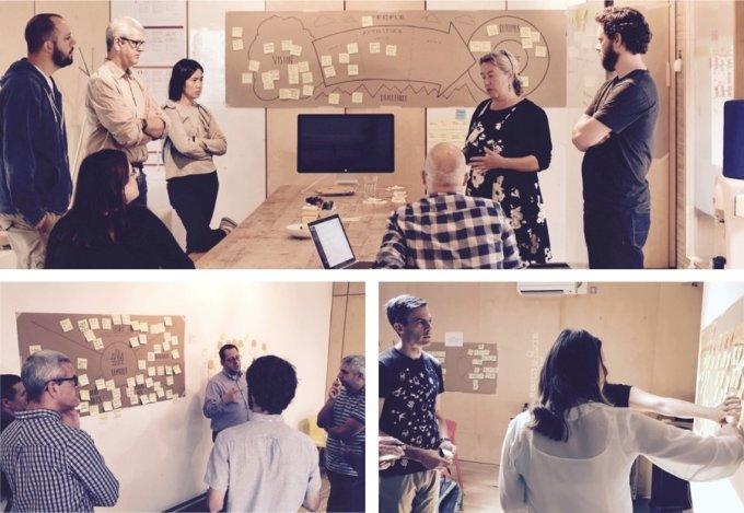 Men and women in design workshops, collaborating