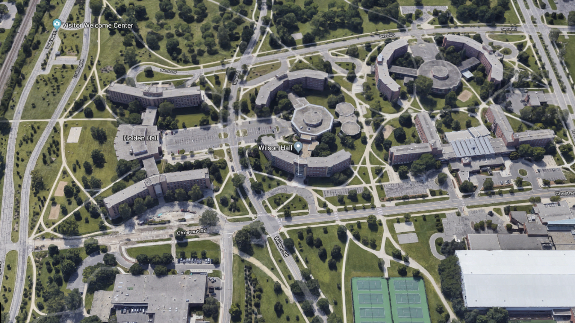 An aeriel view of the grounds of Michigan State University.