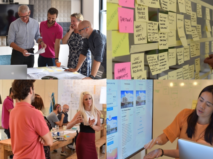 T left: A group of people in a design retrospective T right: A wall of post it notes B right: Two people reviewing a design