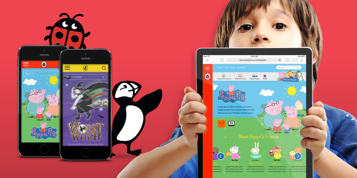 Phones and tablets showing different Penguin properties.