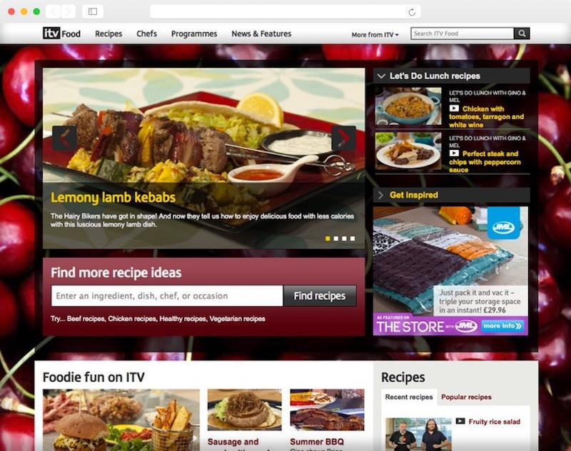 A screenshot of the ITV food home page.