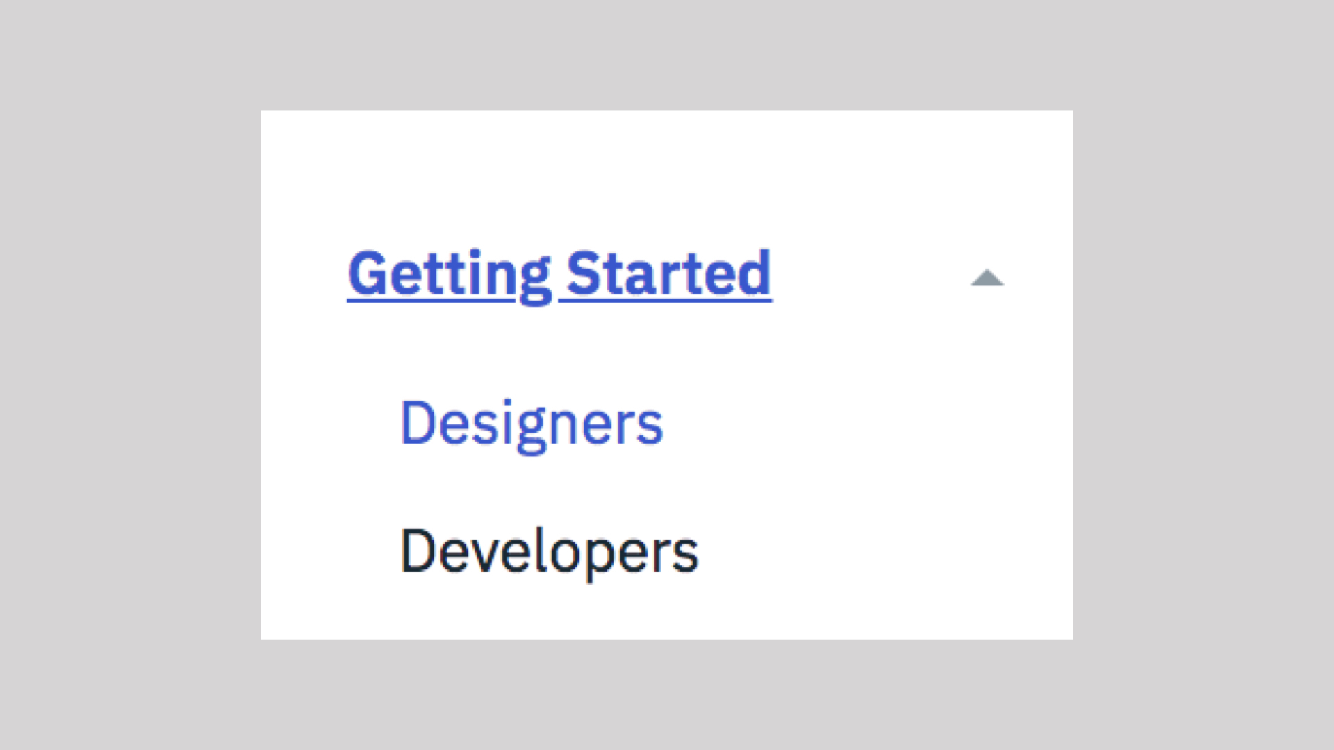 A dropdown down menu with two options: designers or developers.