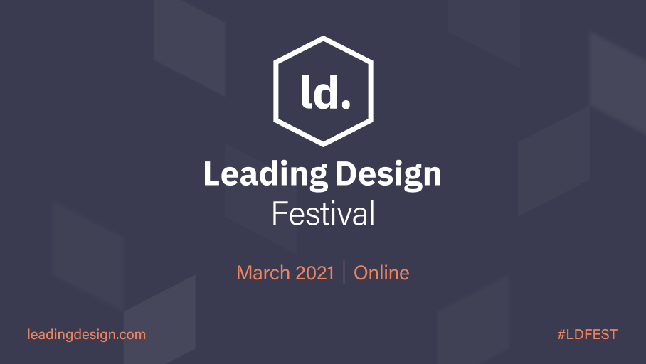 Logo and Leading Design Festival on a deep purple with a broken out the box pattern