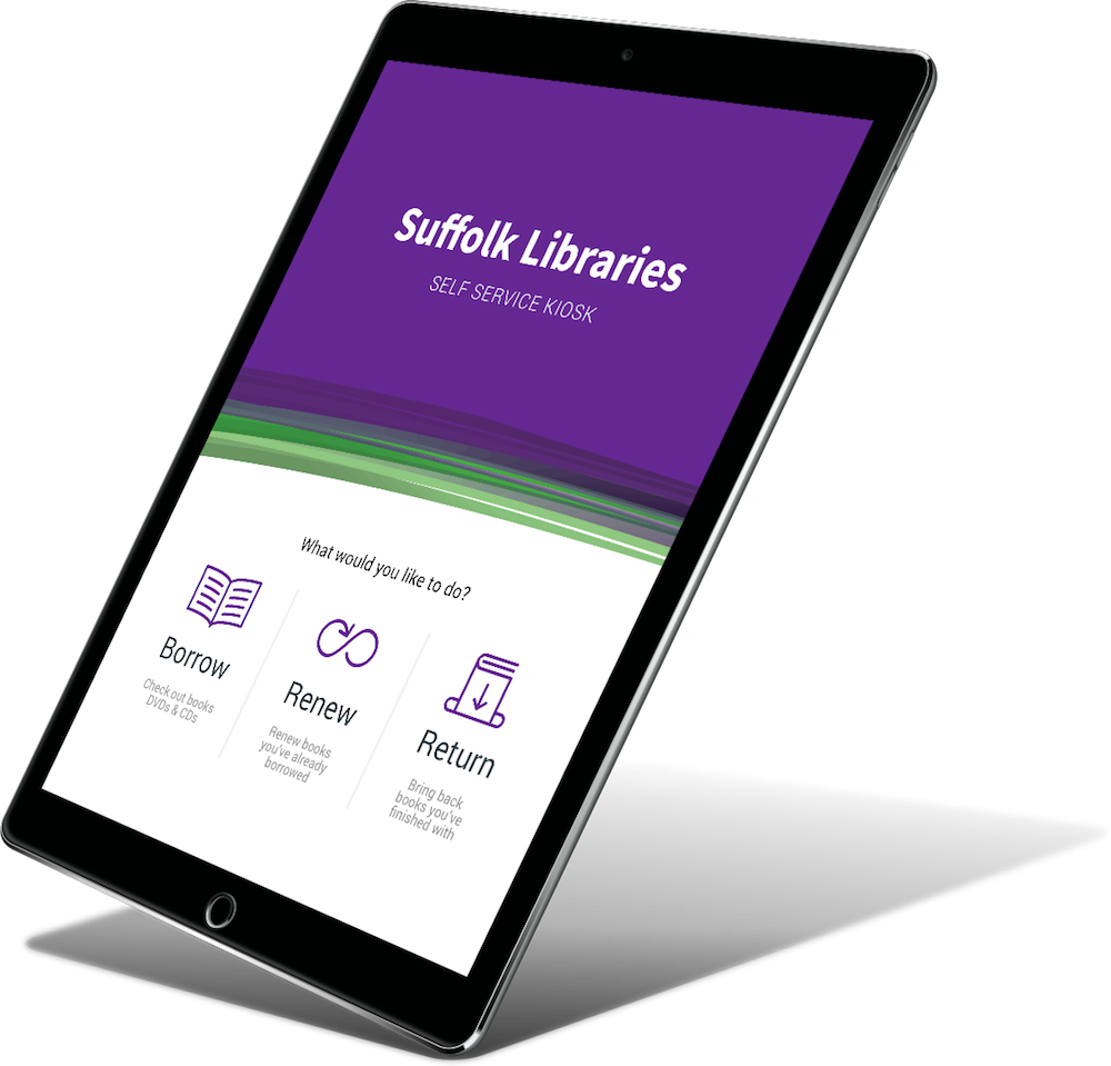 A tablet showing a prototype for Suffolk Libraries.