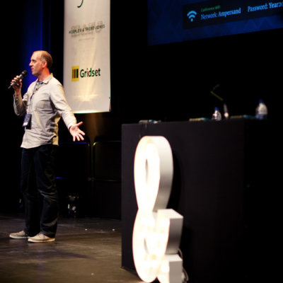 A speaker on stage.