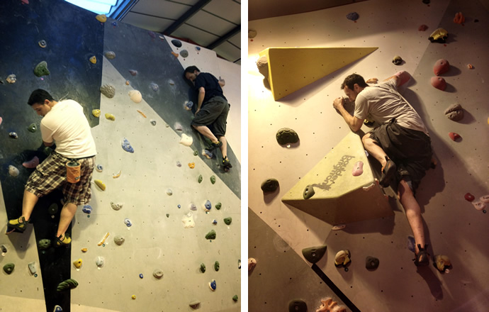 Mikey, Andy D and Andy B bouldering