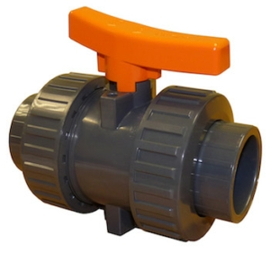 "1.5"" Plain Ends Double Union Plastic ABS Ball Valves Lever Operated PTFE FPM Viton PN15"