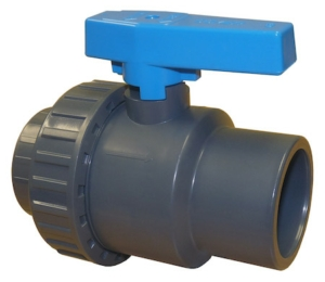 "0.375"" Plain Ends Single Union Plastic PVC-U Ball Valves Lever Operated PTFE EPDM PN15"