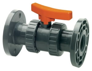 "0.75"" Flanged PN16 Double Flanged Plastic PVC-U Ball Valves Lever Operated PTFE EPDM PN16"