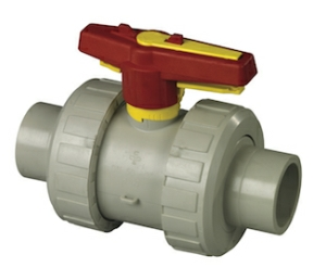 32MM Spigot Double Union Polypropylene Ball Valves Lever Operated EPDM EPDM PN10