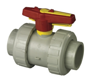 "0.5"" Socket Fusion Double Union Polypropylene Ball Valves Lever Operated FPM Viton FPM Viton PN10"