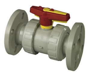 50MM Flanged PN10 Double Union Polypropylene Ball Valves Lever Operated FPM Viton FPM Viton PN10
