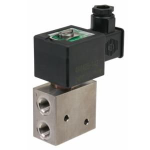 "1/4"" Screwed BSPP 3/2 Normally Closed Light Alloy Solenoid Valves 115VAC/50-60Hz FPM Viton EMG327B0031155060 0-10 Air"