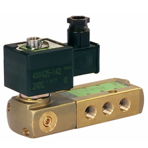 "1/4"" Screwed NPT 3/2 - 5/2 Normally Closed Brass Solenoid Valves 115VAC/50-60Hz NBR Buna LPKFET8551A303MO1155060 2-10 Air"