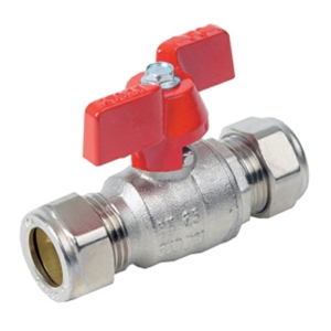 28MM Compression 2 PCE Full Bore Brass Ball Valves Butterfly Handle PTFE PN32 Wras Approved Nickel Plated Red