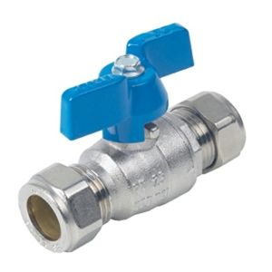 28MM Compression 2 PCE Full Bore Brass Ball Valves Butterfly Handle PTFE PN32 Wras Approved Nickel Plated Blue
