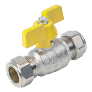 28MM Compression 2 PCE Full Bore Brass Ball Valves Butterfly Handle PTFE PN32 Wras Approved Nickel Plated Yellow