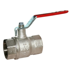 """0.25"""" Screwed BSPP 2 PCE Full Bore Brass Ball Valves Lever Operated PTFE PN40 Wras Approved Nickel Plated Red Handle"""