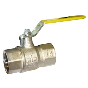"""0.25"""" Screwed BSPP 2 PCE Full Bore Brass Ball Valves Lever Operated PTFE PN40 EN331:1998+A1:2010 Wras Approved BSI Gas Approved-HTB Nickel Plated Yellow Handle"""