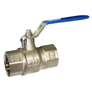 """0.25"""" Screwed BSPP 2 PCE Full Bore Brass Ball Valves Lever Operated PTFE PN40 EN331:1998+A1:2010 Wras Approved BSI Gas Approved-HTB Nickel Plated Blue Handle"""