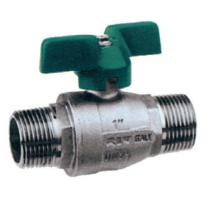"""0.5"""" Screwed BSPP MXM 2 PCE Full Bore Brass Ball Valves Butterfly Handle PTFE PN64 Wras Approved Nickel Plated Long Pattern"""