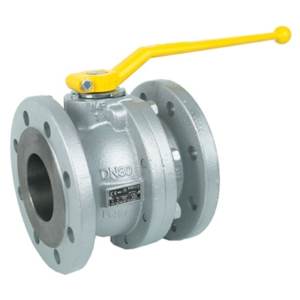 "1.5"" Flanged PN16 2 PCE Full Bore Ductile Iron Ball Valves Lever Operated PTFE PN16 DIN 3202 F4 Gas Approved"
