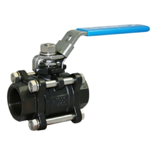 "4"" Screwed BSPP 3 PCE Reduced Bore Carbon Steel Ball Valves Lever Operated PTFE 1000 PSI Locking Lever"