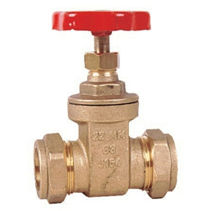 22MM Compression Brass Gate Valves Standard Handwheel BS4514 Plumbing/Heating CV2457-22MM