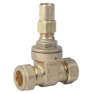 22MM Compression Brass Gate Valves Standard Lockshield BS4514 Plumbing/Heating CV2458-22MM