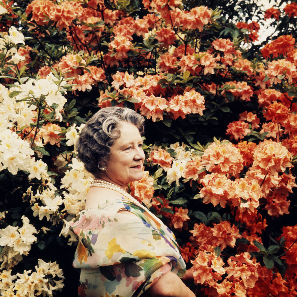 The Queen Mother In The Gardens Of The Royal Lodge At