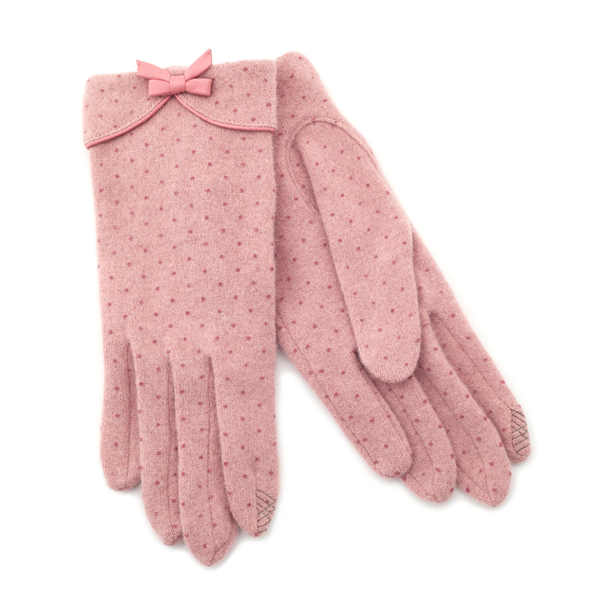 Blush Pink Polka Dot Wool Gloves