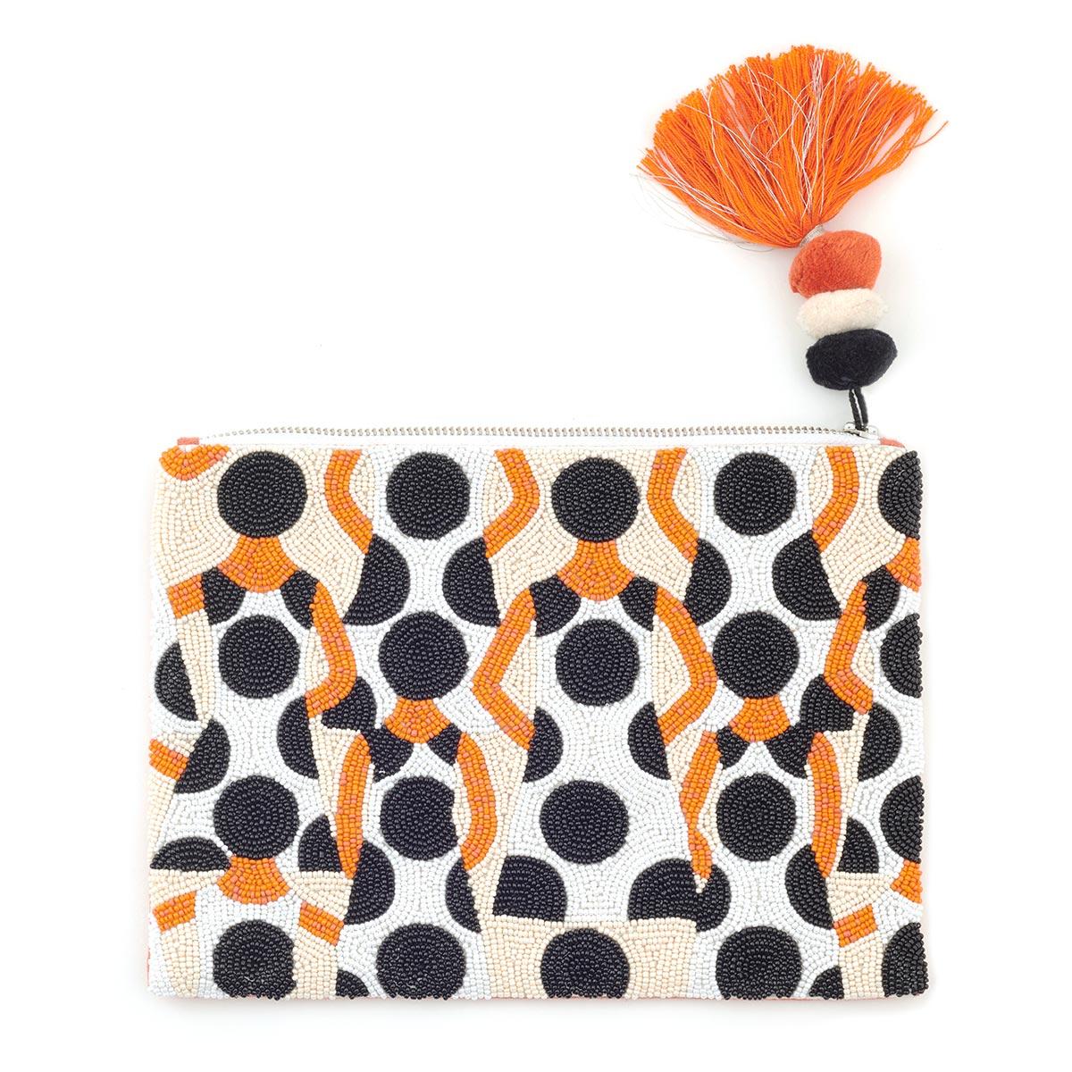Orange tassel clutch