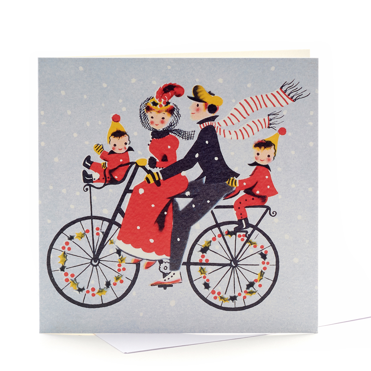 V&A Christmas cards Christmas bike ride (pack of 8)